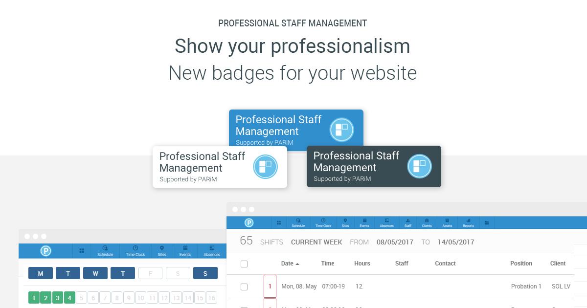 Badge Website professional staff management software badges for parim s clients