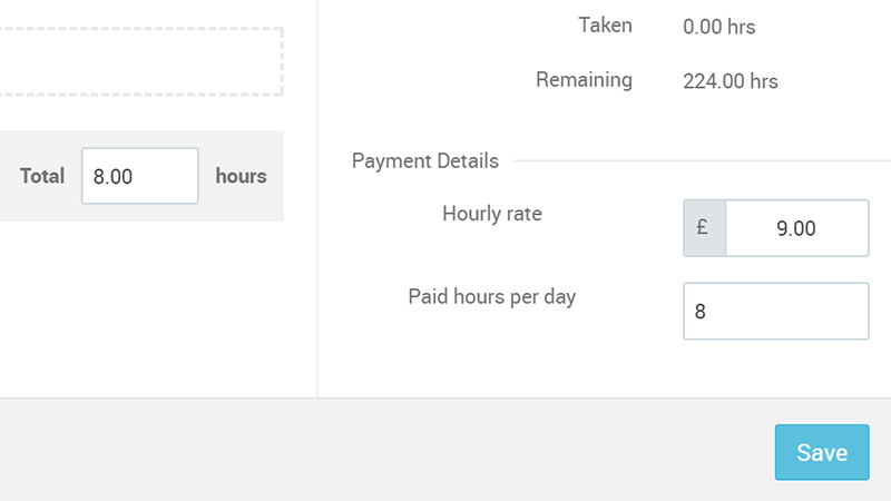 Personal holiday payments in PARiM´s staff management software