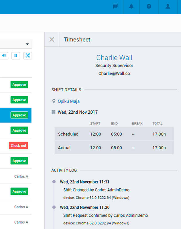 PARiM Time and Attendance: Timesheet Right on the Main View