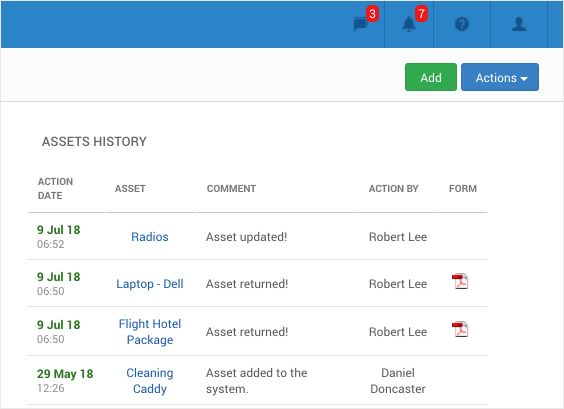 At a glance view with Asset History