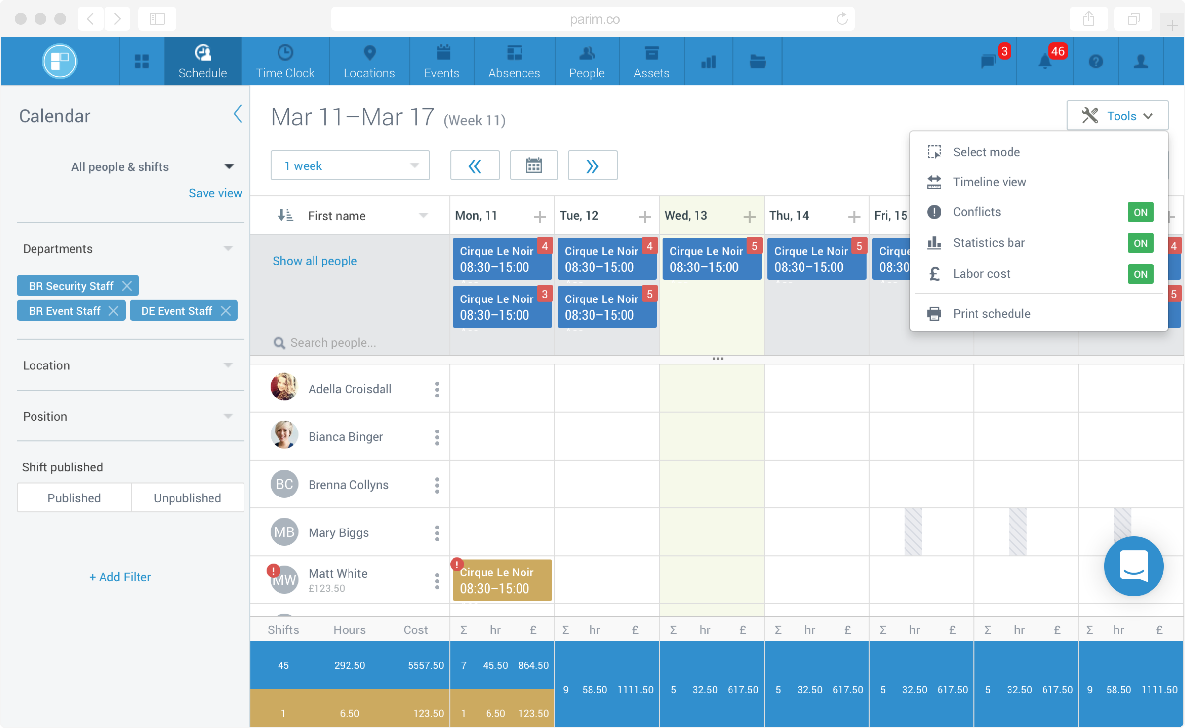Employee Scheduling in PARiM Workforce Software